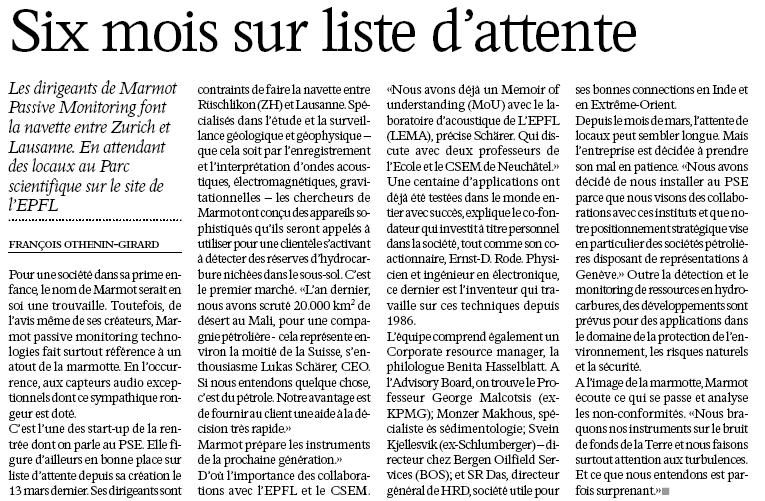 L'AGEFI on Marmot Passive Monitoring